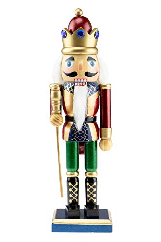 Clever Creations Christmas King Nutcracker | Blue, Silver, White with Scepter | Festive Christmas Decor | Traditional Wooden Design Great for Any Collection | 10