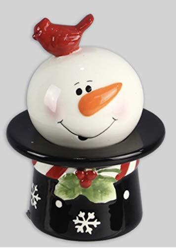 Ceramic Snowman on Hat Salt and Pepper Set