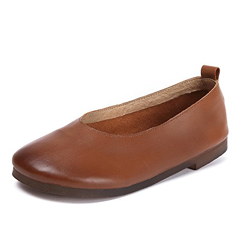 Chaussures Plat Brown Femmes Chaussures Pieds Occasionnelles Respirant Bouche ZFNYY Profonde pour Féminins Peu Grand Mère Chaussures RndxZ8qBBw