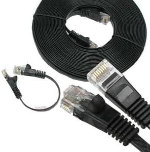 Black 32AWG Network Cable with Gold Plated RJ45 Snagless//Molded//Booted Connector 10 Gigabit//Sec High Speed LAN Internet//Patch Cable 10-Pack - 20 Feet 550MHz GOWOS Cat6 Flat Ethernet Cable