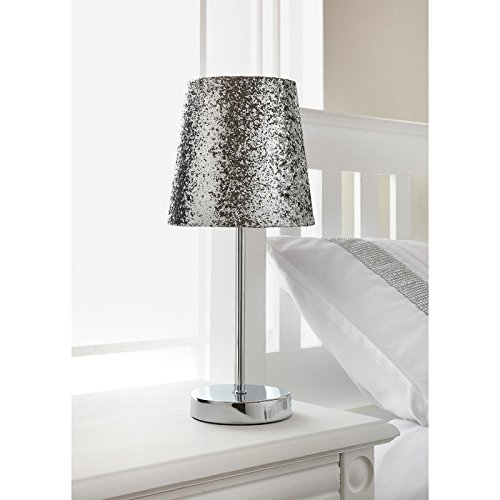 Girlu0027s Bedside Bedroom Glitter Light Shade Table Lamp   Silver:  Amazon.co.uk: Kitchen U0026 Home