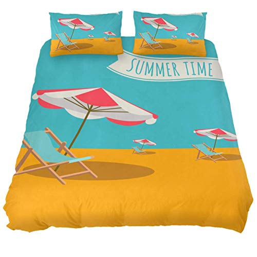 Mapotofux 100% Washed Microfiber 3pcs Bedding Duvet Cover Set - Lightweight and Soft,Comforter Cover with Summer Beach with Parasol Chair Print(California King)
