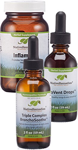 Native Remedies Healthy Lungs UltraPack - Homeopathic Formula Triple Complex BronchoSoothe and Herbal Supplements BioVent Drops and Inflam Dr. - 1 Each
