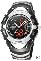"""Dual Displays Water-proof LED Pointers Sports Watch High Quality Black and White (""""901748-LED-008-03-GZJM"""")"""