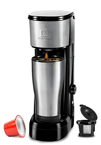 Chefman Instabrew Single Serve Maker Brewer for K-Cup Pods Coffee-Grounds & Loose-Leaf Tea w/Instant Reboil & Bonus Reusable Filter, Compact 14 oz, Black/Stainless Steel, Mug Not Included ()