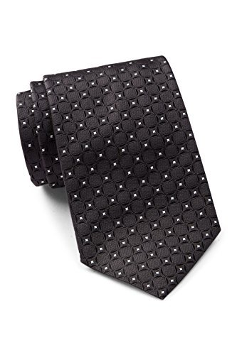 Hugo Boss Men's Square Pattern Silk Tie, OS, Black by Hugo Boss