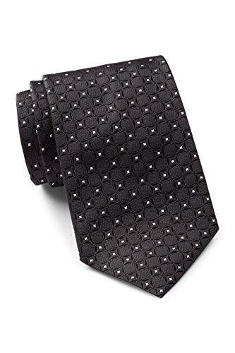 Hugo Boss Men's Square Pattern Silk Tie, OS, Black