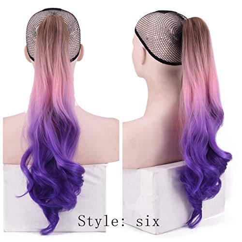 JJLIKER Women Multicolor Curly Synthetic Ponytail Hair Wigs Extension Synthetic Hairpiece with a Claw Clip 21 inches]()