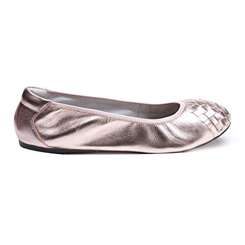 Cocorose Faltbare Schuhe - Richmond Damen Ballerinas Leder Rosa Gold