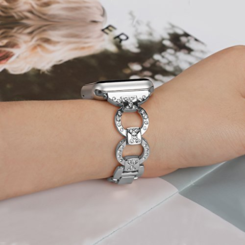 Metal Watch Band for Apple Watch Iwatch Band 42mm Bling Metal Wristband Bracelet for Women Diamond 38mm Apple Watch Band Series 3 2 1 by BONSTRAP (Image #4)