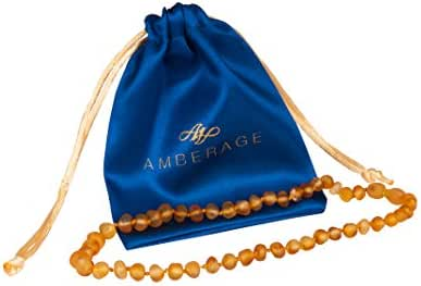 AMBERAGE Baltic Amber Baby Teething Necklaces (Unisex) Anti Flammatory, Drooling & Teething Pain Reduce Properties, Certificated Baroque Beads (unpolished Honey),Quality Guaranteed