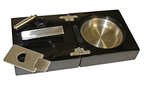 - Visol Bremen Black Lacquer Folding Cigar Ashtray with Cutter and Punch