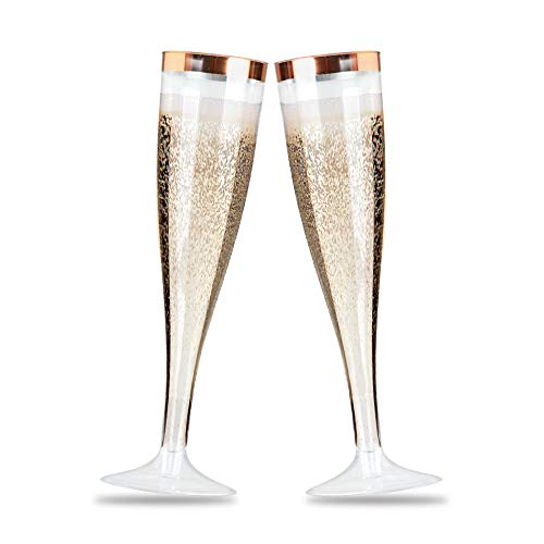 - 50 Disposable Rose Gold Rimmed Plastic Champagne Flutes for Parties. Set of 50 x 5 Ounce Tasteful Toasting Glasses for Weddings, Graduation, Bridal Showers and Mimosa Cocktails - BPA Free