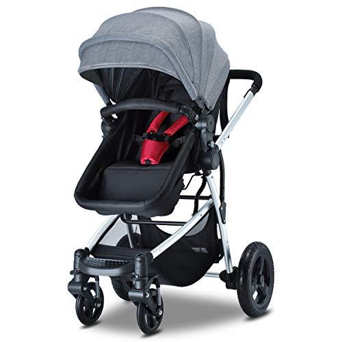 HEAO Newborn Baby Stroller Reversible Bassinet Reclining Foldable Red