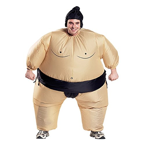 Kacm Inflatable Adult Sumo Wrestler Wrestling Suits Halloween Costume (Mens Inflatable Sumo Costume)