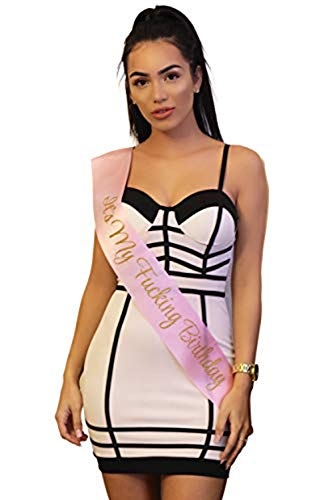Pink Birthday Sash (It's My FING Birthday Pink Sash, Funny Birthday Party Supplies and)