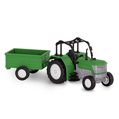 Driven by Battat – Micro Tractor – Toy Tractor with Light, Sound, & Detachable Trailer Farm Toy for Kids 3+ (2Pc)