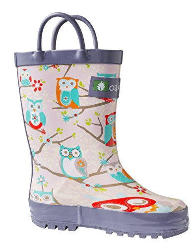 OAKI Kids Rubber Rain Boots Easy-on Handles, Pink Owls, 8T US Toddler