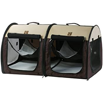 """One for Pets Fabric Portable Dog Cat Kennel Shelter, Double, Cream/Brown 20""""x20""""x39"""""""