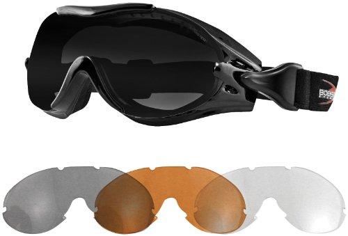 Bobster Eyewear PHOENIX OTG GOGGLE/INTERCHNG Goggles Phoenix BLK AF SMOKE,AMBER & CLEAR LENS - - Street Interchangeable Goggles