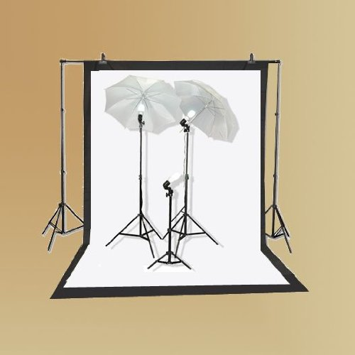 ePhoto K103 Studio Lighting Kit with Carrying Case with 6x9 Foot Black and White Muslin Backdrop, 2 each 7 Foot Light Stands, 32-Inch Umbrellas and 3 45 Watt Fluorescent Bulbs (Lighting Muslin)