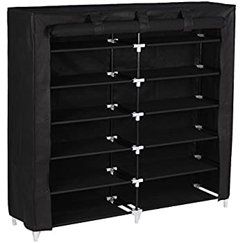Merveilleux SONGMICS 7 Tiers Portable Shoe Rack Closet With Fabric Cover Shoe Storage  Organizer Cabinet Black URXJ12H