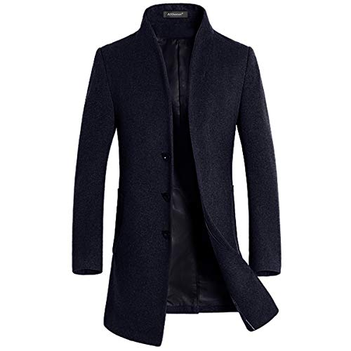 Allthemen Mens Trench Coat Long Slim Fit Wool Cashmere Coat Jacket Outerwear Trenchcoats Winter Warm Overcoat