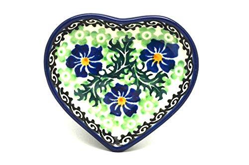 Polish Pottery Tea Bag Holder - Heart - Sweet Violet