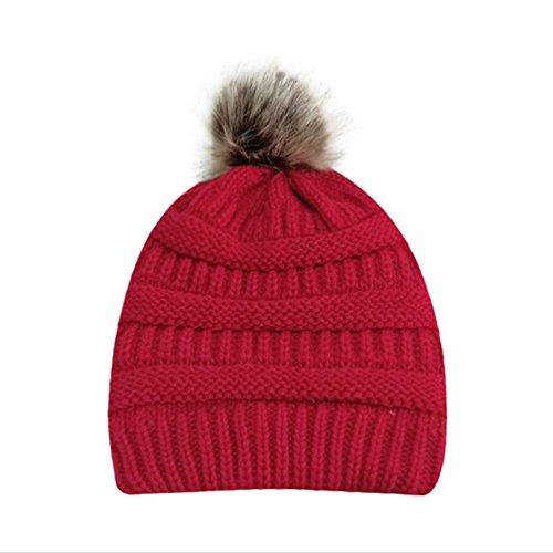 PASATO Sale!Women Winter Warm Crochet Knit Faux Fur Pom Pom Beanie Hat Cap hat for Women Winter Fashion(Red,Free Size)