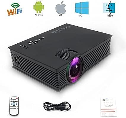 Directtyteam WiFi Proyector LED de 1200 lúmenes,Mini Proyector, soporta 1080p Full HD, USB,AV,HDMI,VGA ,SD,DVD e interfaz de auriculares, ...