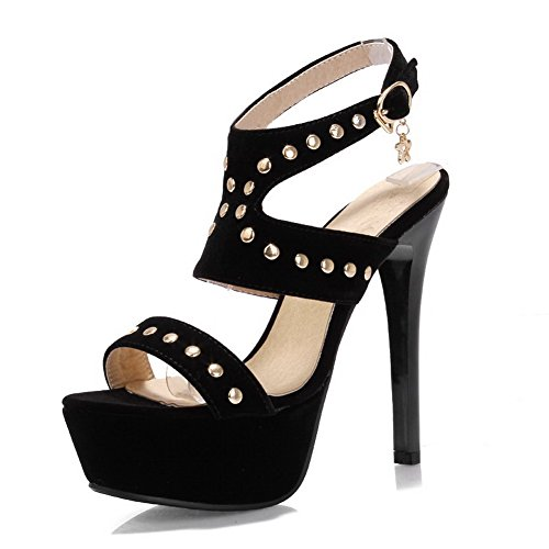 VogueZone009 Womens Open Toe Peep Toe High Heels Spikes Stilettos PU Frosted Solid Sandals with Platform Black rHGk11J