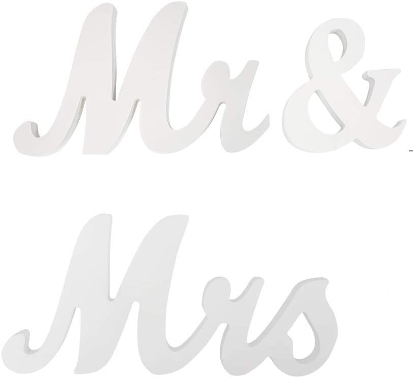 Marsheepy White Mr and Mrs Signs Wedding Sweetheart Table Decoration,Mr & Mrs Sign Decorative Letters for Wedding Photo Props Party Decoration