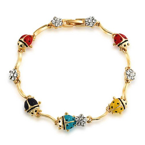 (Bling Jewelry Colorful Garden Lucky Ladybug Link Charm Bracelet for Women Crystal 14K Gold Plated Brass)