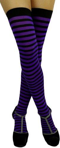 ToBeInStyle Women's Striped Two Tone Thigh Hi Stockings - One Size - Black w/ Purple Stripes
