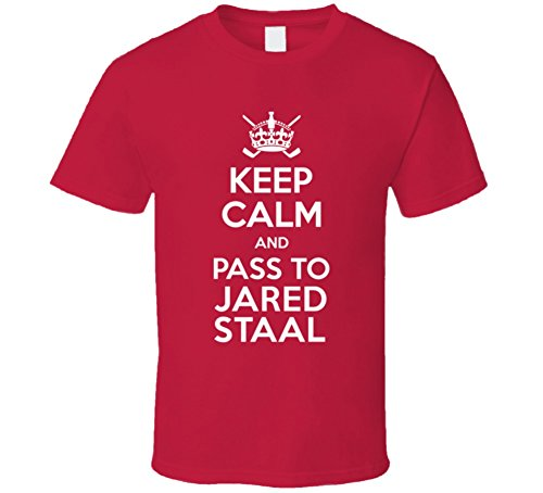 o Jared Staal Carolina Hockey Player Sports Fan T Shirt M Red (Staal Player)