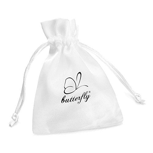 butterfly - Boucles d'oreilles pour filles en argent sterling 925, vrais Swarovski Elements, Oiseau rose