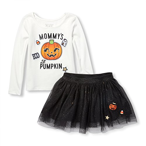 The Children's Place Baby Girls Long Sleeve Halloween Shirt and Skirt Set, Black, 18-24MONTH -