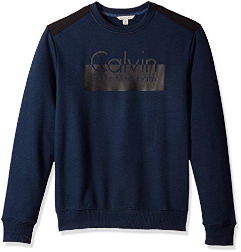Calvin Klein Jeans Men's Calvin Blocked Logo Fleece Sweatshirt, Submerge, X-Large