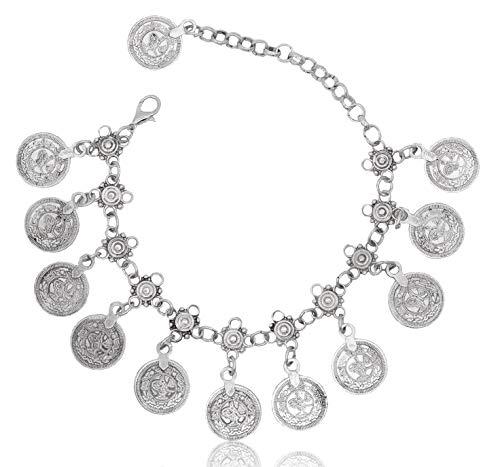 - Vintage Coin Ankle Bracelet Tassel Gypsy Festival Beach Bohemian Anklet, Silver
