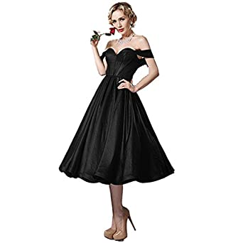 VGBRIDAL Tea Length Little Black Cocktail Party Dresses Off Shoulder Zipper Back Short Homecoming Prom Gowns