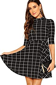 Floerns Women's Mock Neck Fit and Flare D