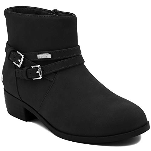 (Nautica Kids Girls Youth Ankle Bootie with Side Buckle and Zipper, Dress Boot-Aviary-Black-3)