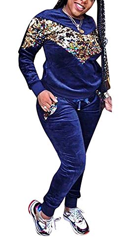 LAJIOJIO Women Sexy Sequin Patchwork Velvet 2 Piece Outfit Long Sleeve Sweatshirt + Bodycon Pants Set