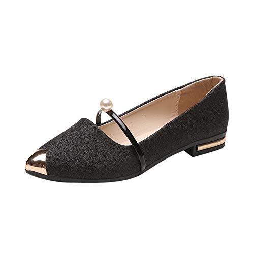 Rhinestone Flat Pull (Ballet Flats Women Pointy Toe Low Heel Dressy Shoes Metal by Lowprofile Black)