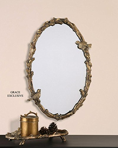 (Uttermost Distressed Antiqued Gold Leaf with A Gray Glaze. Paza Oval Mirror with Bird and Vine Detail Frame Model-13575 P)