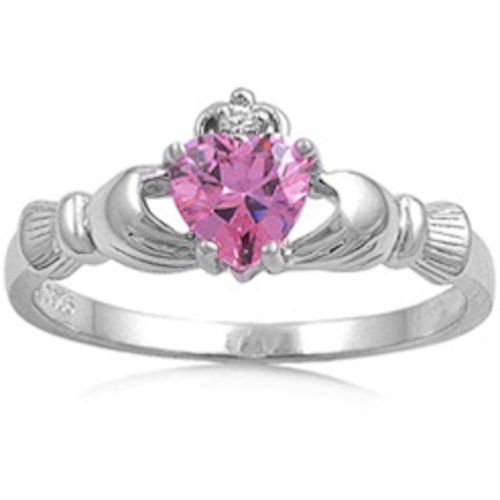 (Oxford Diamond Co Irish Calddagh Pink Cz Ring Size 4)