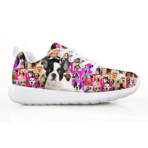 HUGS IDEA HUGSIDEA Pet Dog Print Kids Mesh Breathable Sneaker Fashion Running Shoes For Girls by HUGS IDEA (Image #1)