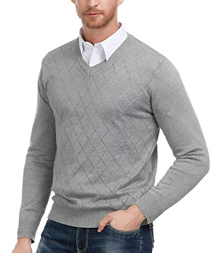 Argyle Sweater Top - PAUL JONES Men's V-Neck Argyle Pullover Sweater Long Sleeve Solid Plain Sweater (Grey, Size M)