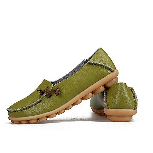 Kära-drottning Kvinna Kör Skor Kohud Tillfälliga Spets-up Loafers Båt Skor Lägenheter Gräsgrön