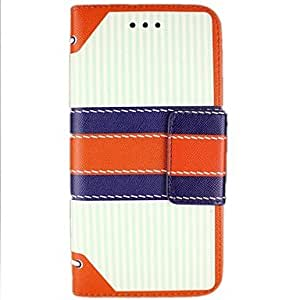 QJM Retro Striped Leather Full Body Cases for iPhone 6(Assorted Color) , Red